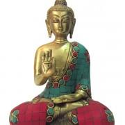 Estátua Buda Bronze com Pedras
